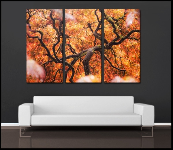 """Tree Of Color"""" Abstract Nature 3 Piece Fine Art Canvas Wall Throughout Abstract Nature Canvas Wall Art (View 2 of 15)"""