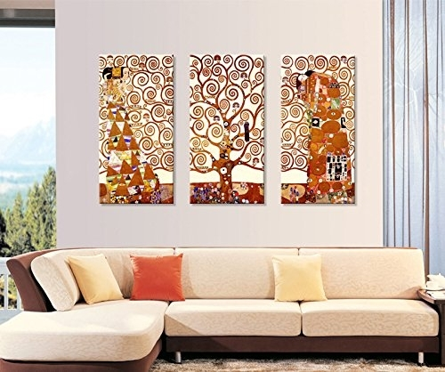 Tree Of Life Canvas Printgustav Klimt|3 Panels Abstract Canvas Regarding Canvas Wall Art Of Trees (View 7 of 15)