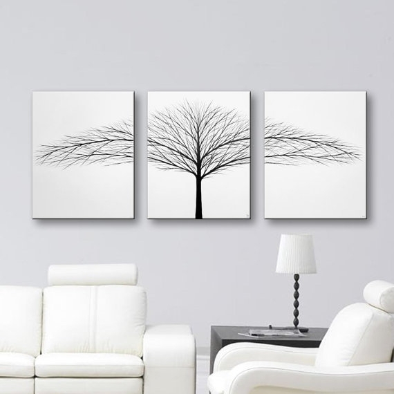 Tree Of Life Painting Wall Art Bedroom Wall Decor Black And White In Black And White Canvas Wall Art (Image 9 of 15)