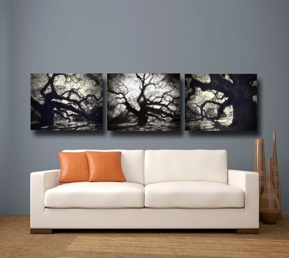 Tree Photography Black & White Canvas Art, Angel Oak Tree Within Black And White Canvas Wall Art (Image 10 of 15)