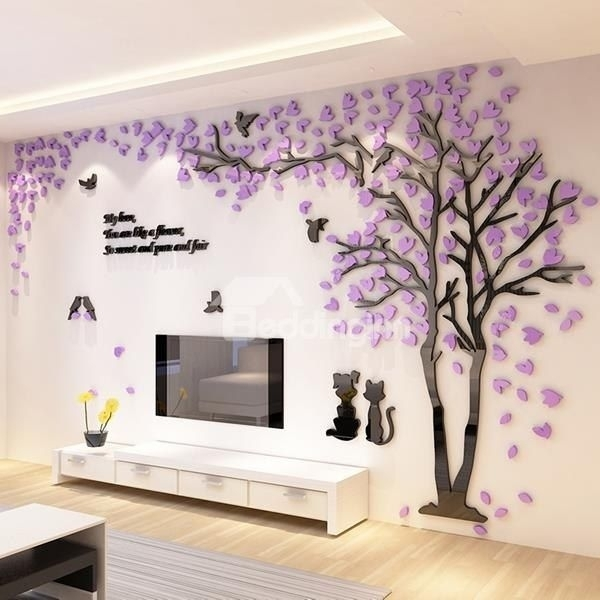 Trees And Birds Pattern Acrylic Eco Friendly Waterproof Self In Adhesive Art Wall Accents (View 5 of 15)