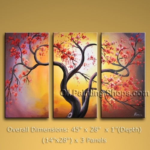 """Tri Panel Canvas Wall Art Contemporary Blossom Tree 45"""" X 28 For Canvas Wall Art Of Trees (Image 10 of 15)"""