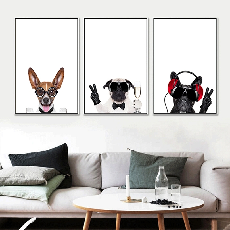Triptych Canvas Art Lovely Pet Dogs Prints Nursery Kids Baby With Regard To Dogs Canvas Wall Art (Image 15 of 15)
