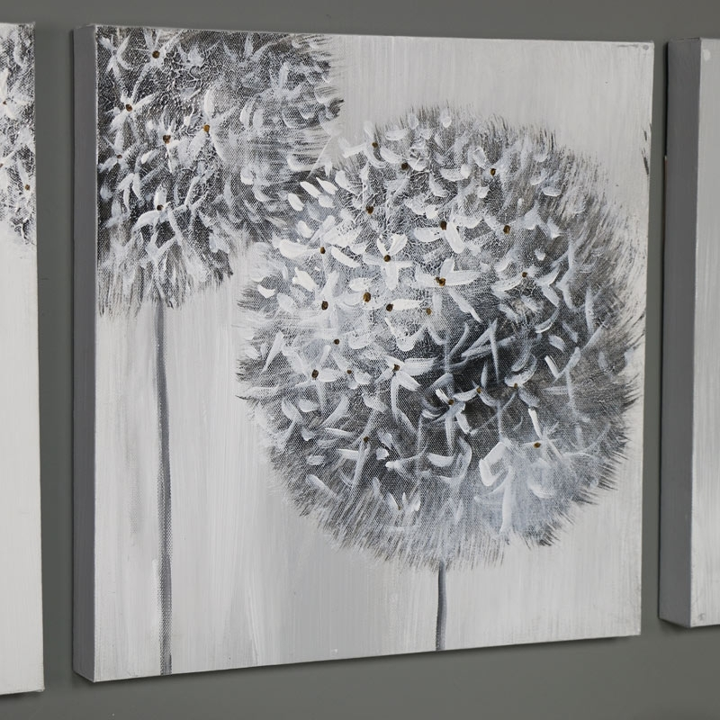 Triptych Wall Art Grey Flower Canvas Print – Windsor Browne In Dandelion Canvas Wall Art (View 15 of 15)
