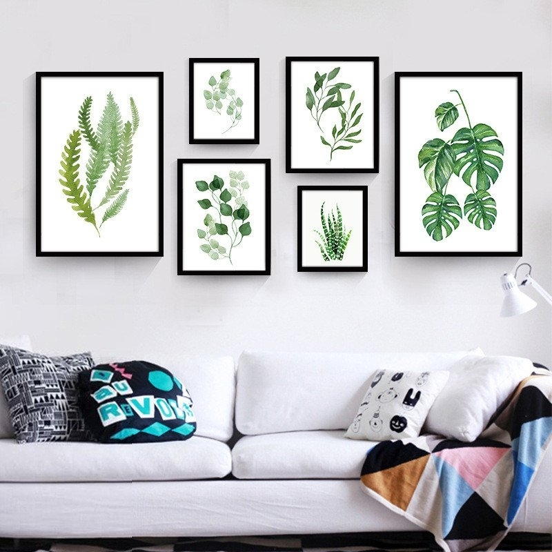 Tropical Leaf Wall Art | Modern Canvas Art Print Poster Painting For Leaves Canvas Wall Art (Image 11 of 15)