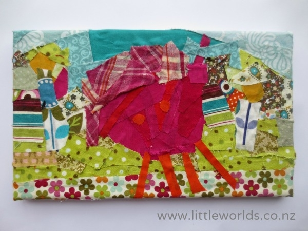 Turning Drawings Into Fabric Scrap Wall Art – Little Worlds Inside Fabric Collage Wall Art (Image 14 of 15)
