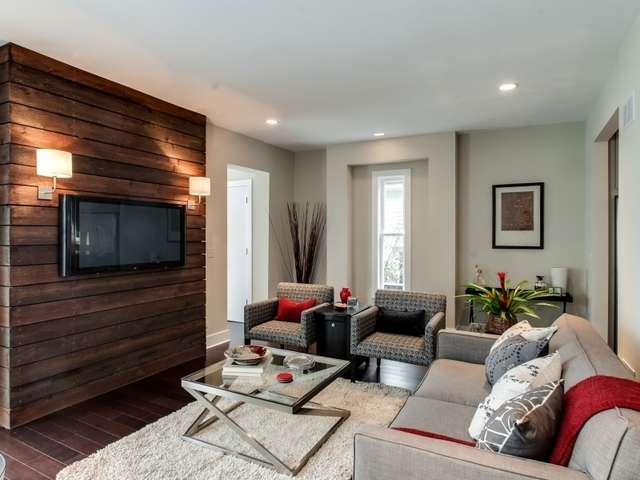 Tv Mounted On Wood! Make A Wood Wall To Lean Behind The Tv Stand Intended For Wall Accents With Tv (Image 15 of 15)