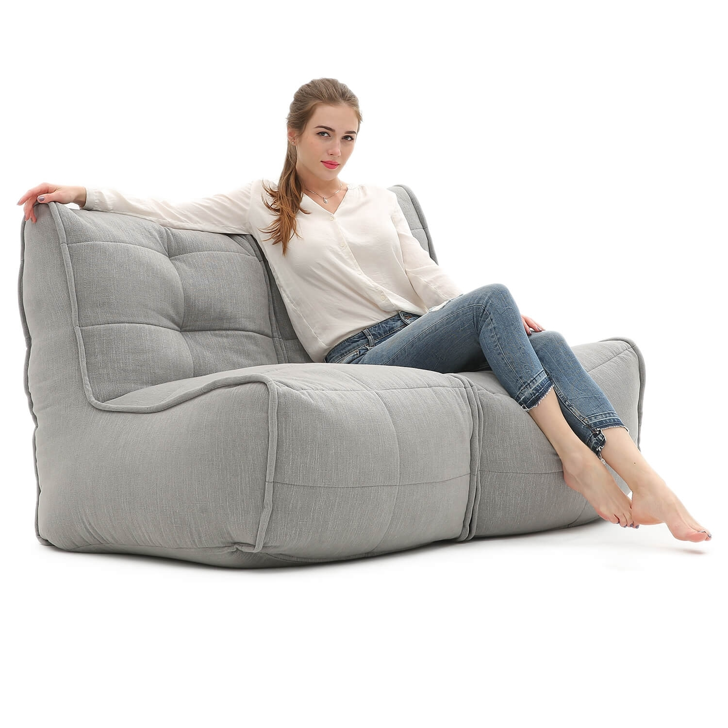 Twin Couch Sofa – Keystone Grey – Bean Bags Australia Within Bean Bag Sofas (Image 10 of 10)