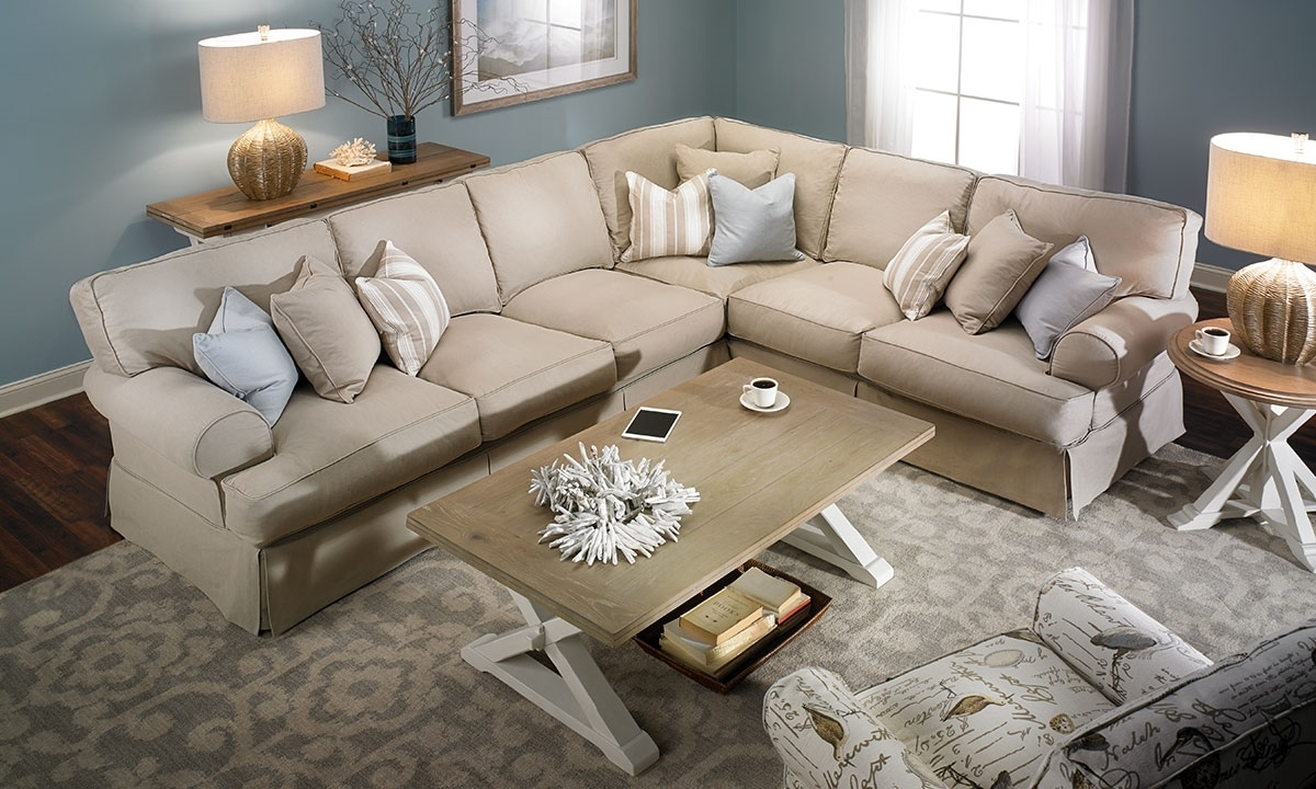 Two Lanes Classic Roll Arm Slipcovered Sectional | Haynes Furniture Intended For Virginia Sectional Sofas (View 7 of 10)