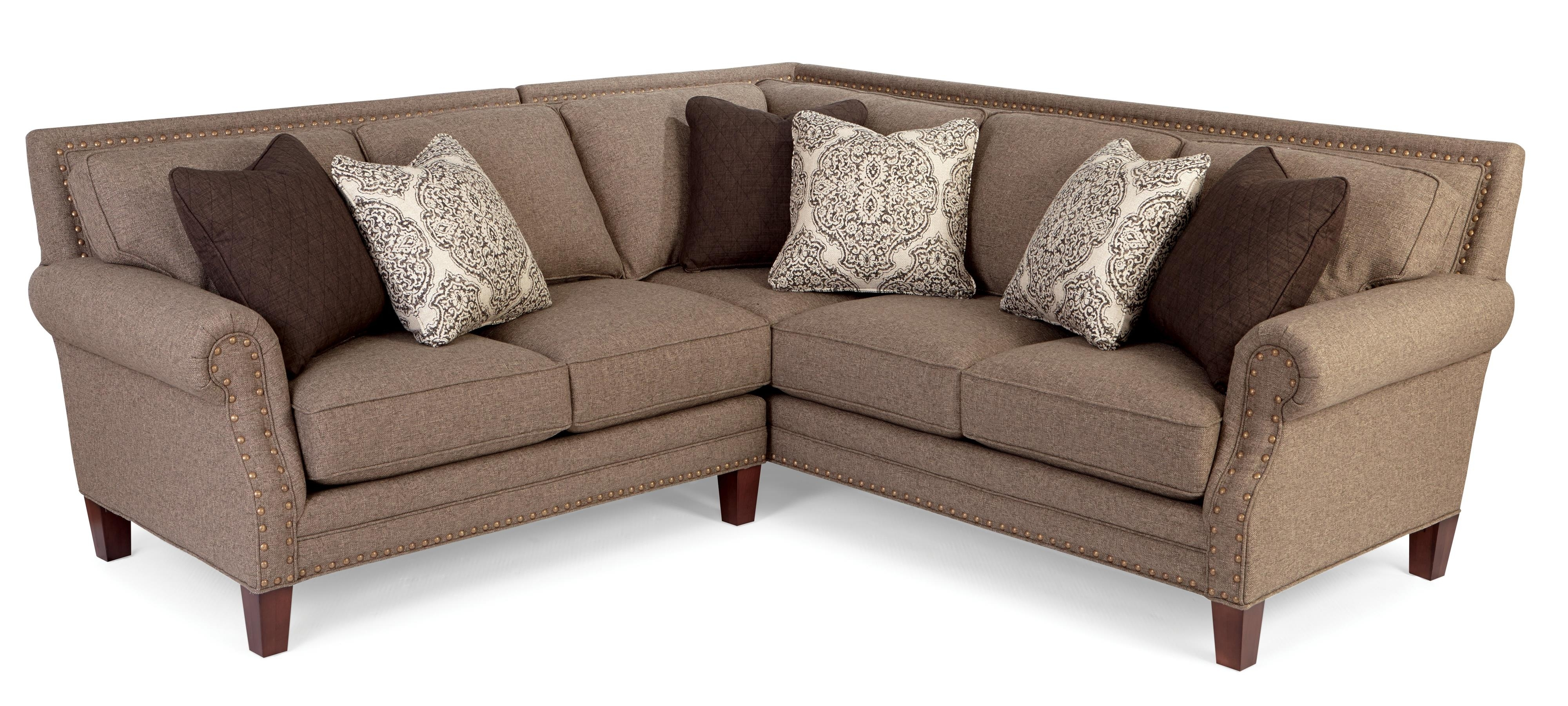 Two Piece Sectional Sofa With Rolled Arms And Light Brass Nailheads Intended For Sectional Sofas With Nailheads (Image 10 of 10)
