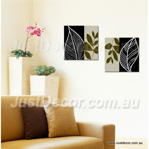 Two Piece Set Abstract Leaves Canvas Wall Art Canvas Art Printing For Abstract Leaves Wall Art (Image 14 of 15)