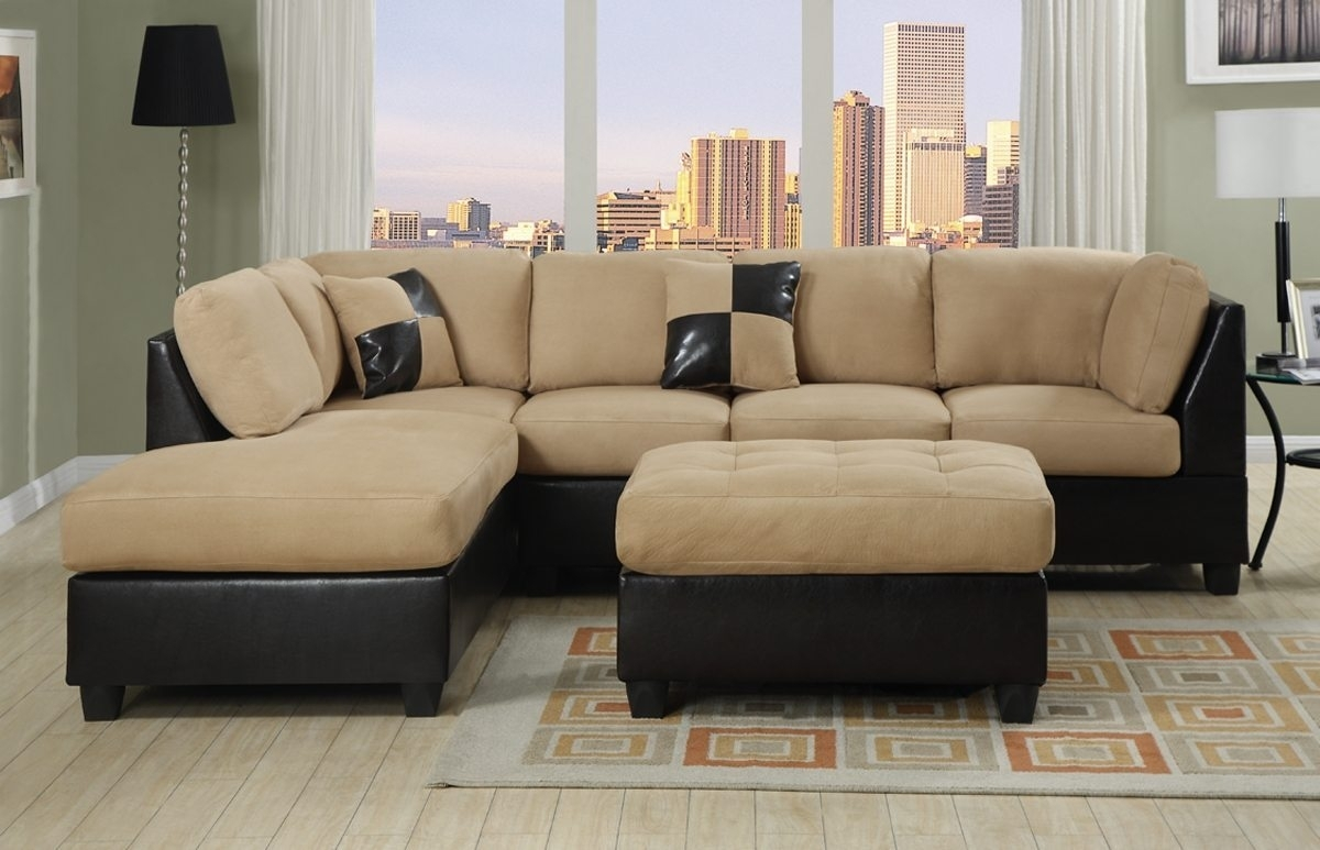 Two Tone Sectional Sofa With Square Ottoman Coffee Table And Cream Inside Affordable Sectional Sofas (Image 8 of 10)