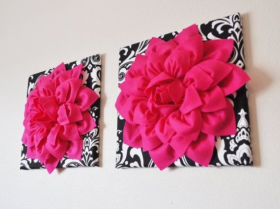 Two Wall Flowers  Hot Pink Dahlia Flowers On Black And White Intended For Pink Canvas Wall Art (Image 9 of 15)