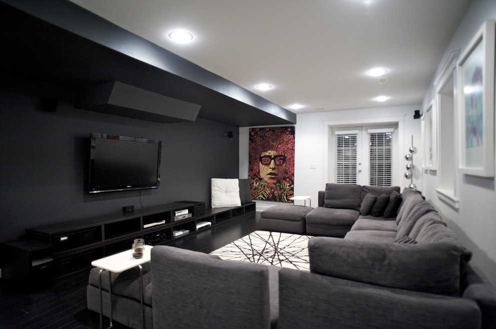 U Shaped Sectional Home Theater Contemporary With Accent Wall Throughout Wall Accents For Media Room (Photo 12 of 15)
