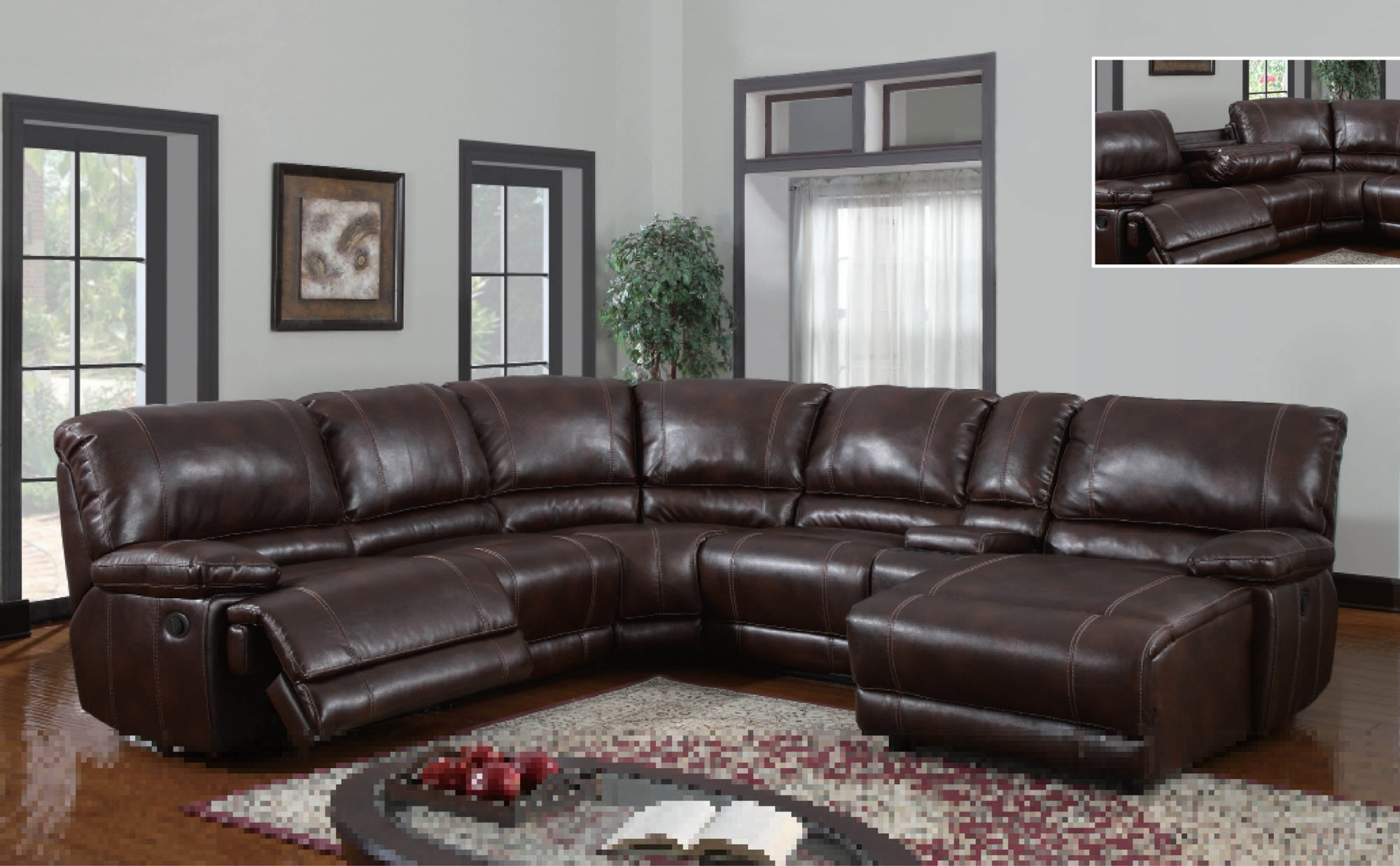 U1953 Global Furniture Usa Sectional With Power Recliner And Chaise Throughout Sectional Sofas With Power Recliners (Image 10 of 10)