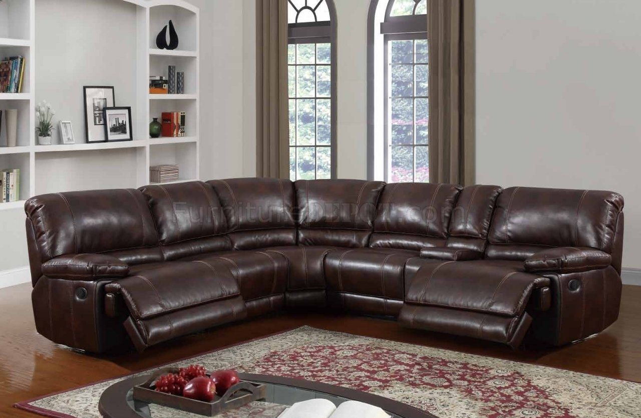 U1953 Power Motion Sectional Sofa Brown Bonded Leatherglobal Throughout Leather Motion Sectional Sofas (View 4 of 10)