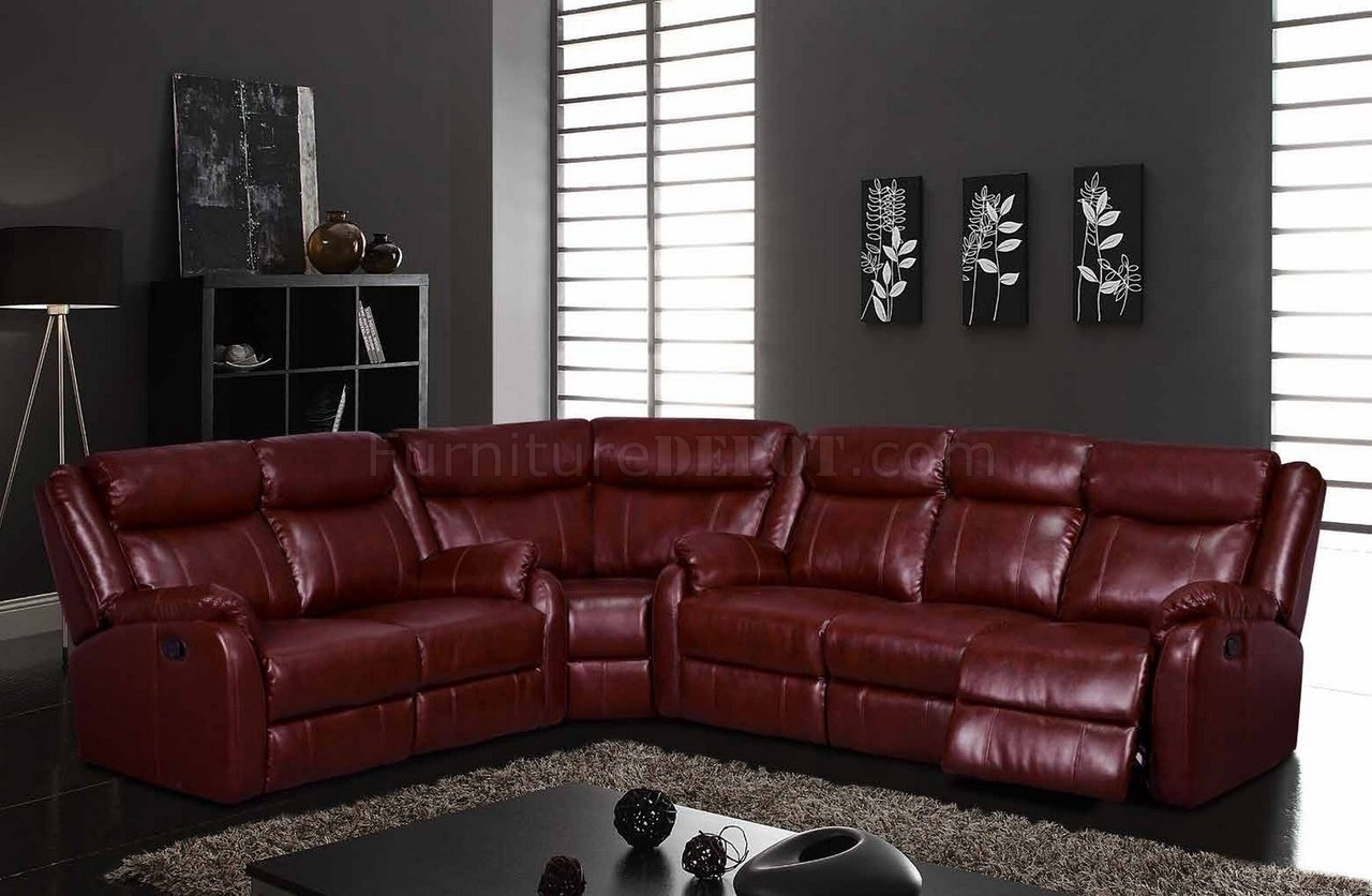 U9303 Motion Sectional Sofa In Burgundyglobal With Leather Motion Sectional Sofas (View 8 of 10)