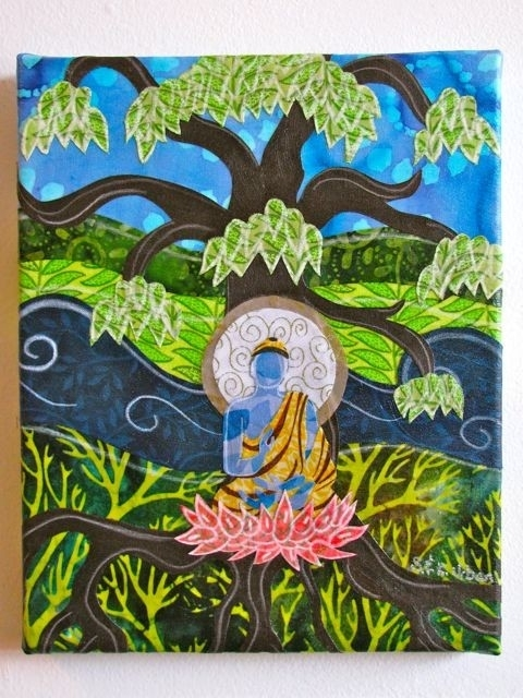 Under The Bodhi Tree – Fabric Collage Wall Art | Art Journaling Inside Fabric Collage Wall Art (Image 15 of 15)