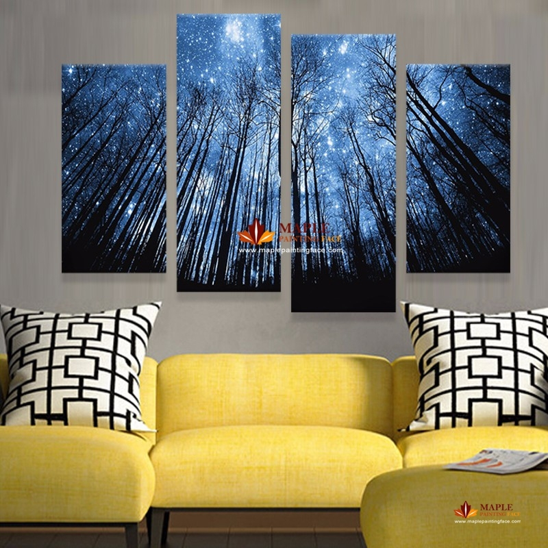 Unframe 4 Panels Modern Abstract Canvas Prints Artwork Beautiful For Living Room Canvas Wall Art (Photo 14 of 15)
