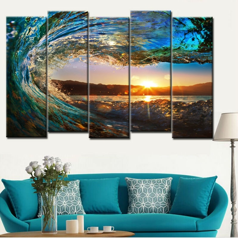 Unframe 5 Pieces Large Canvas Wall Art Huge Wave Painting Modern In Ocean Canvas Wall Art (Photo 14 of 15)