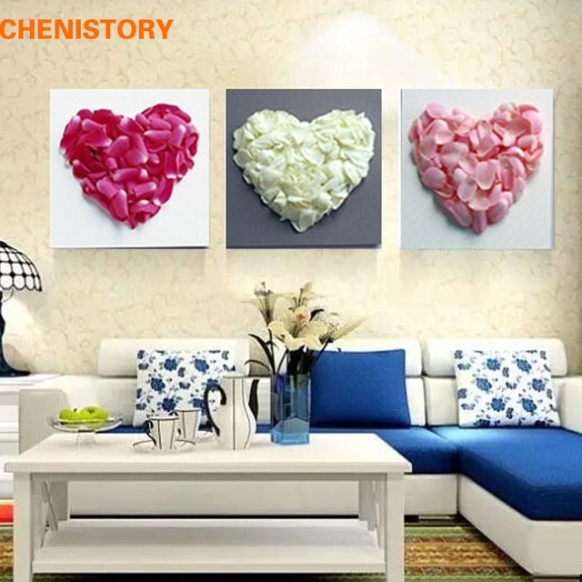 Unframed 3 Panel Love Heart Flower Modern Abstract Print Painting For Hearts Canvas Wall Art (Image 14 of 15)