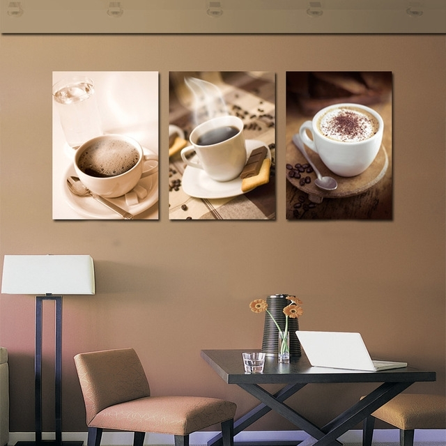 Unframed 3 Piece Fashion Home Decoration Hot Coffee Cup Painting With Coffee Canvas Wall Art (Image 14 of 15)
