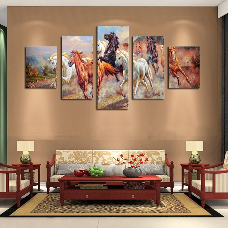 Unframed 5 Panels Canvas Print Painting Modern Running Horse pertaining to Horses Canvas Wall Art