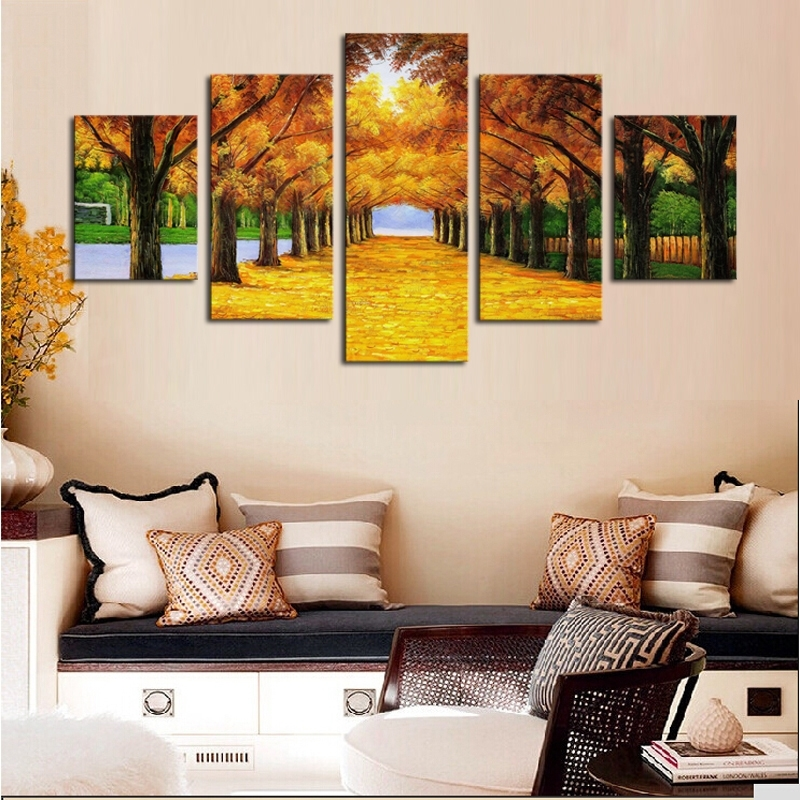 Unframed 5 Panels Nature Yellow Goldentrees Canvas Print Painting With Nature Canvas Wall Art (Photo 11 of 15)