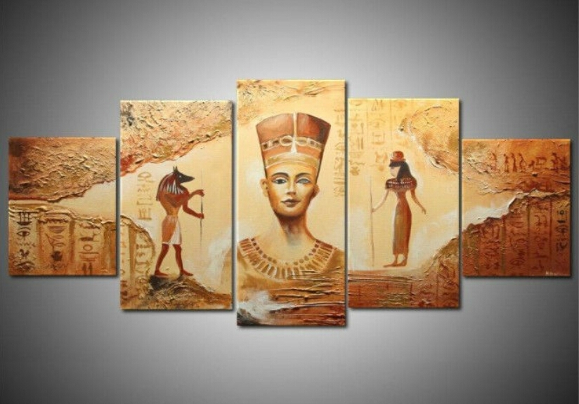 Unframed] Ancient Egyptian Abstract Art Canvas Painting Prints Throughout Egyptian Canvas Wall Art (Photo 10 of 15)