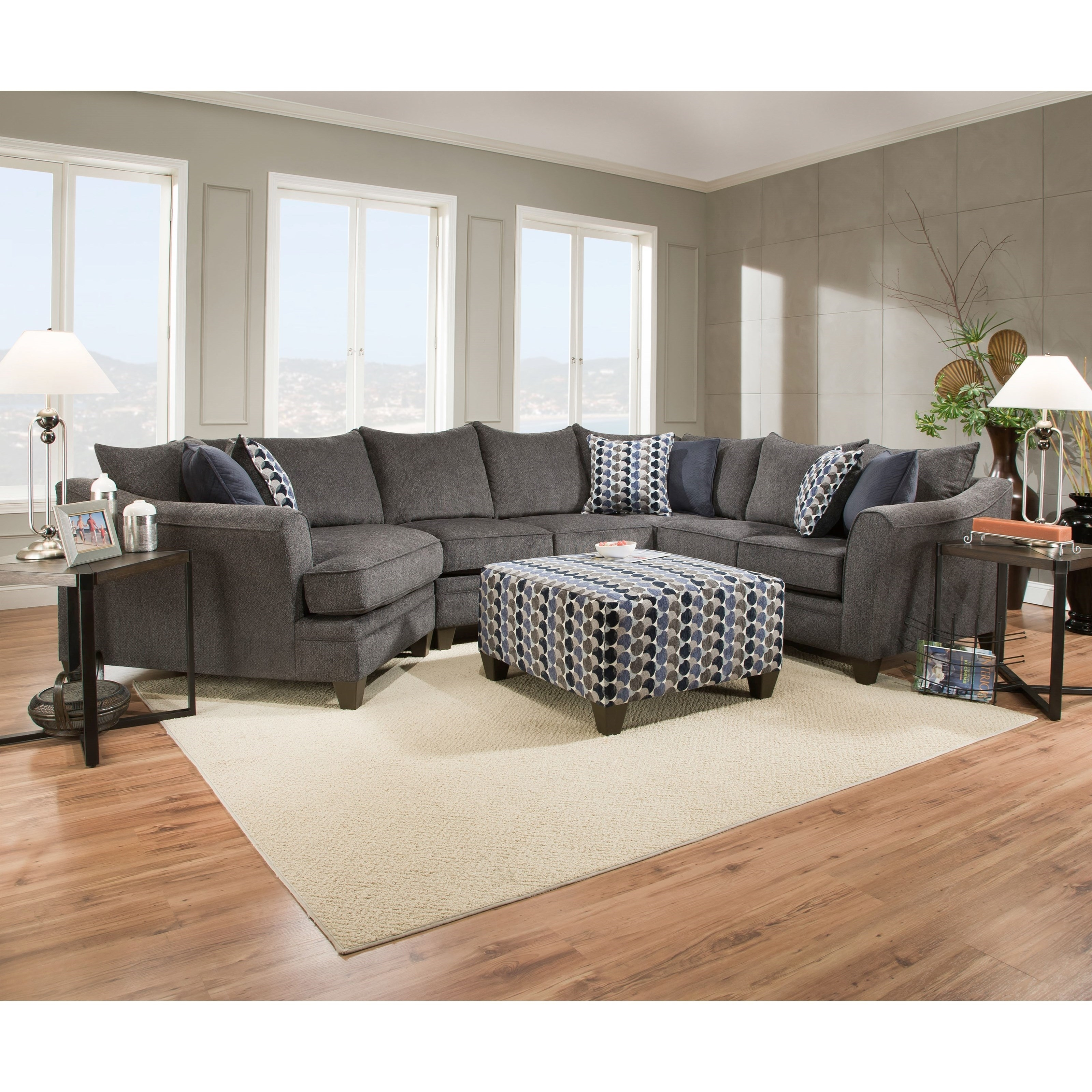United Furniture Industries 6485 Albany Slate Transitional Sectional in Wilmington Nc Sectional Sofas