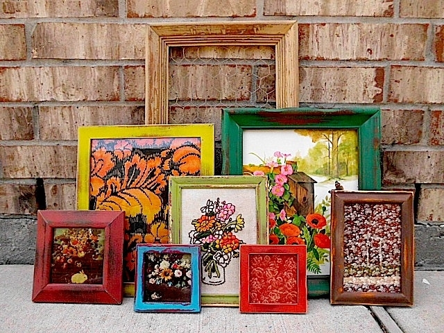 Upcycled – Eclectic Bohemian – Color Punch – Vintage Picture Frame Intended For Vintage Fabric Wall Art (View 8 of 15)