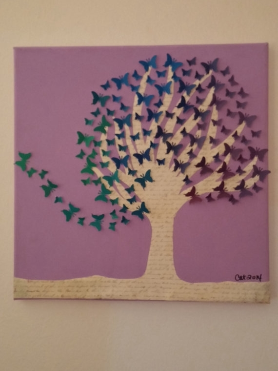 Upcycled Wall Art! One Of A Kind Butterfly Tree Created Using For Butterflies Canvas Wall Art (Photo 6 of 15)