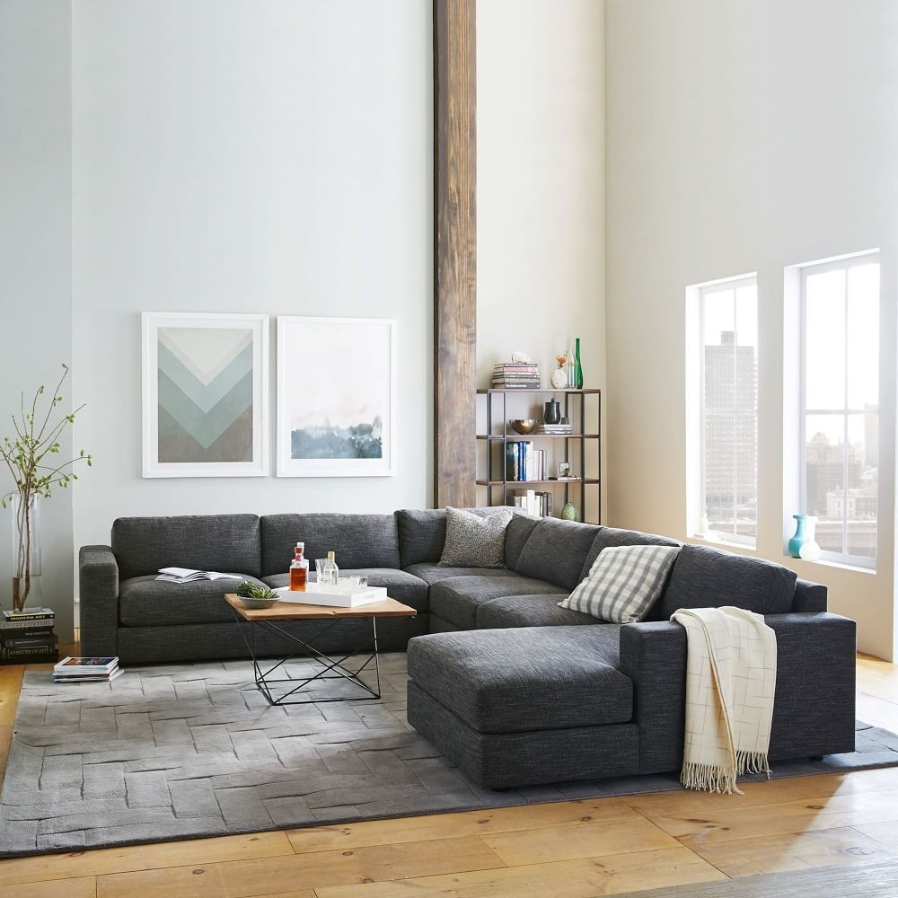 Urban 4-Piece Chaise Sectional - Charcoal (Heathered Tweed) | West throughout West Elm Sectional Sofas
