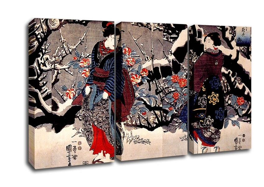 Utagawa Kuniyoshi Women Ethnic 3 Panel Canvas 3 Panel Set Canvas With Regard To Japanese Canvas Wall Art (Photo 15 of 15)