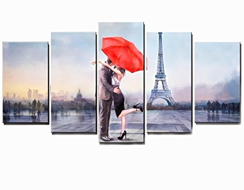 Valentine's Gift Honest Canvas Prints Love In Paris 5 Panels Huge With Regard To Canvas Wall Art Of Paris (Image 9 of 15)
