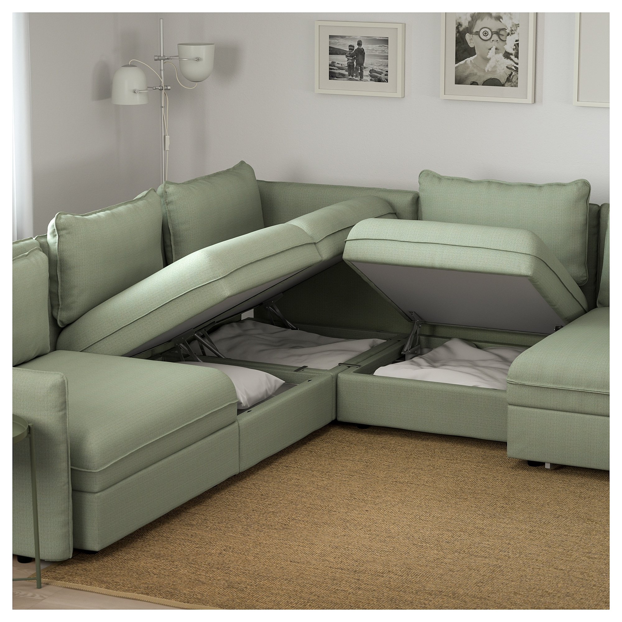 Vallentuna 6 Seat Corner Sofa With Bed Hillared Green – Ikea Intended For Ikea Corner Sofas With Storage (View 8 of 10)