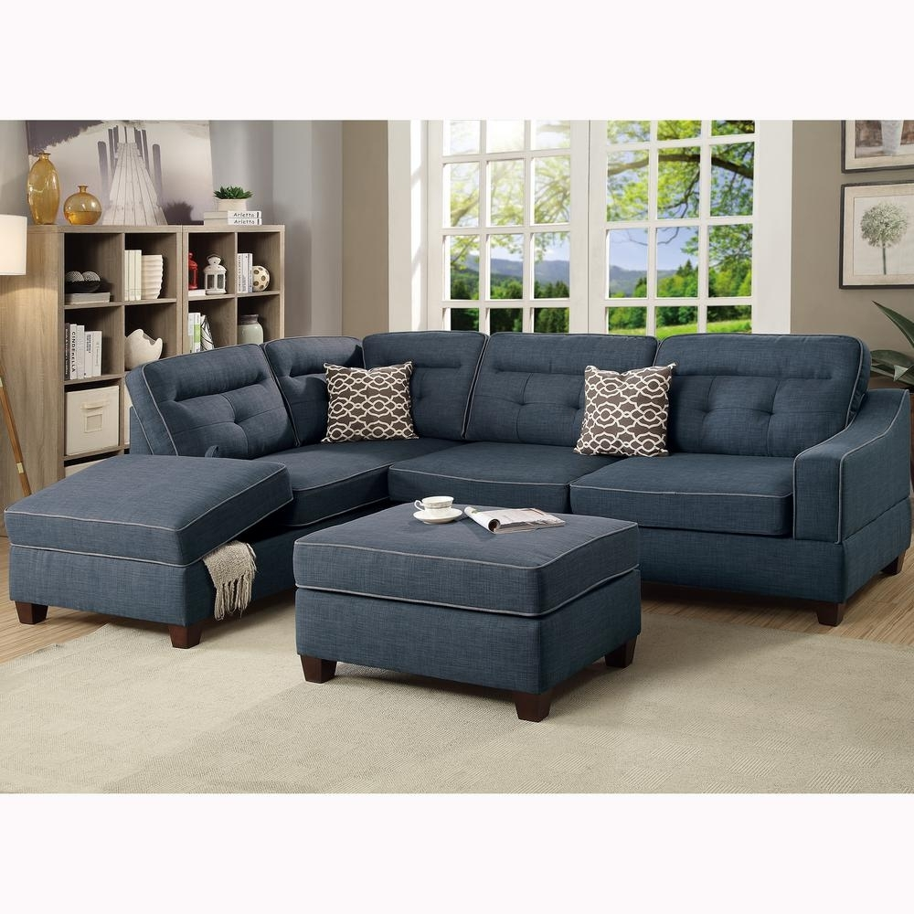 Venetian Worldwide Capri 3 Piece Dark Blue Sectional Sofa With Intended For Sectionals With Ottoman (Image 10 of 10)