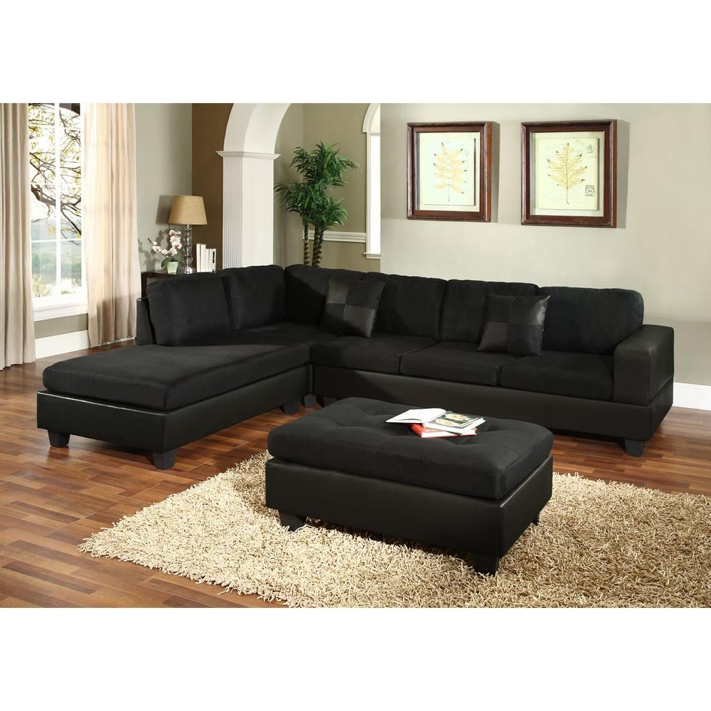 Venetian Worldwide Dallin Black Microfiber Sectional Mfs0005 L – The Intended For Black Sectional Sofas (Image 10 of 10)