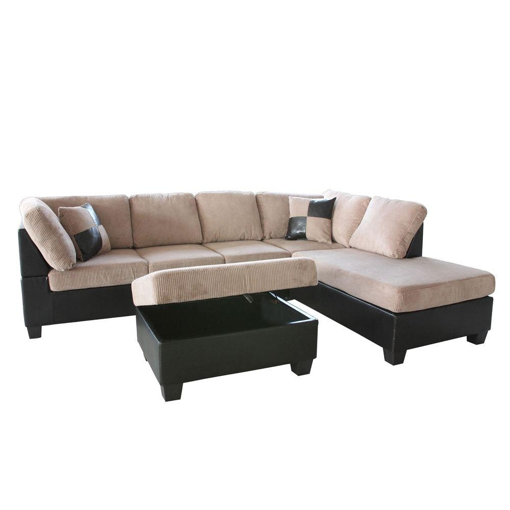 Venetian Worldwide Taylor 2 Piece Saddle Brown Corduroy Sectional Throughout Home Depot Sectional Sofas (Image 10 of 10)