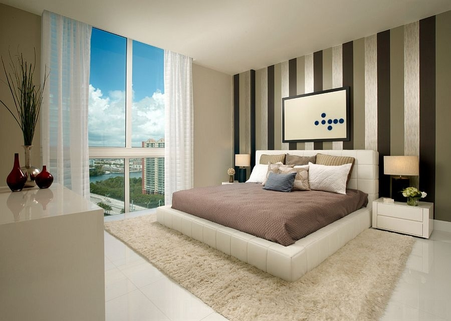 Vertical Stripes Wall And Contemporary Bedroom Design Plus Within Vertical Stripes Wall Accents (View 11 of 15)