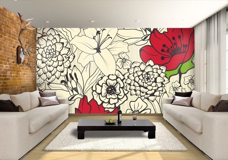 Very Large Painted Flower Murals | Wall Painting Mural Of Black Regarding Murals Wall Accents (View 6 of 15)
