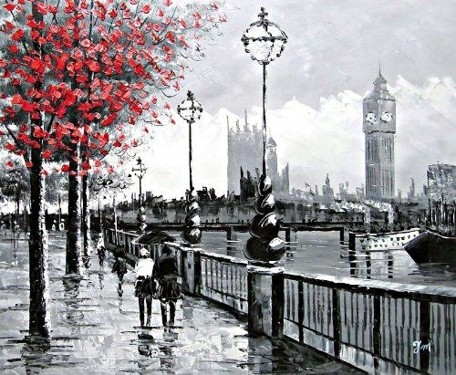 View Of London Big Ben From The South Bankthe River Thames With Regard To London Canvas Wall Art (Image 14 of 15)