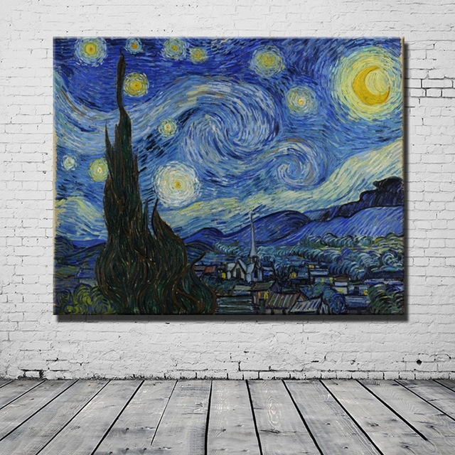 Vincent Van Gogh Masters Starry Night Painting Reputation Wall Art In Masters Canvas Wall Art (Image 14 of 15)