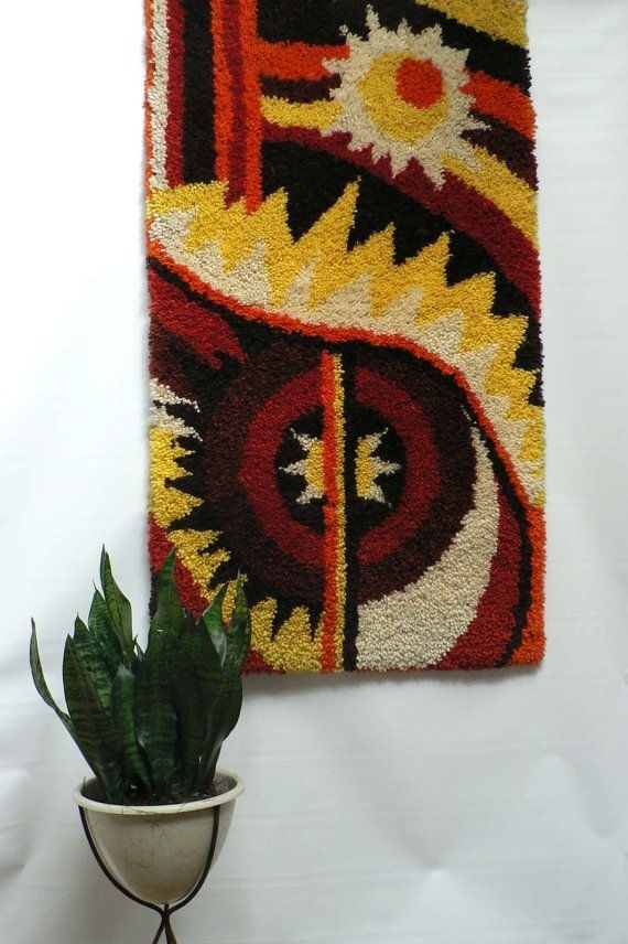 Vintage 1960S 70S Hand Knotted Wall Hanging / Large Mid Century With Regard To Mid Century Textile Wall Art (View 4 of 15)