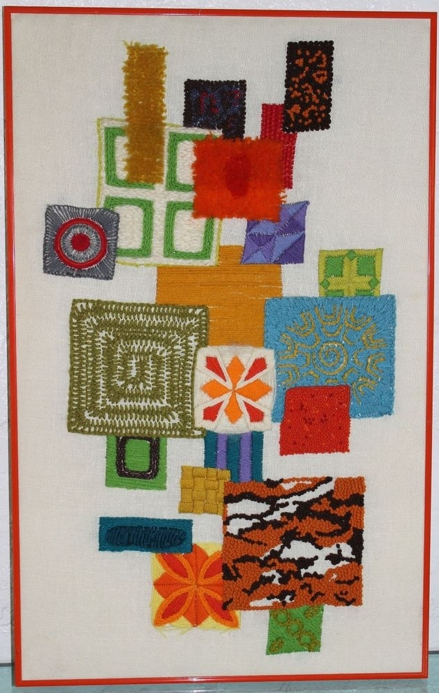 Vintage 60S Mid Century Modern Cubist Abstract Needlework Yarn Regarding Vintage Textile Wall Art (Image 9 of 15)
