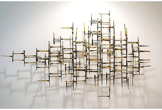 Vintage Abstract Geometric Modern Metal Wallfabulousmess For Abstract Geometric Metal Wall Art (View 4 of 15)