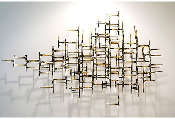 Vintage Abstract Geometric Modern Metal Wallfabulousmess Throughout Abstract Metal Wall Art Sculptures (View 3 of 15)