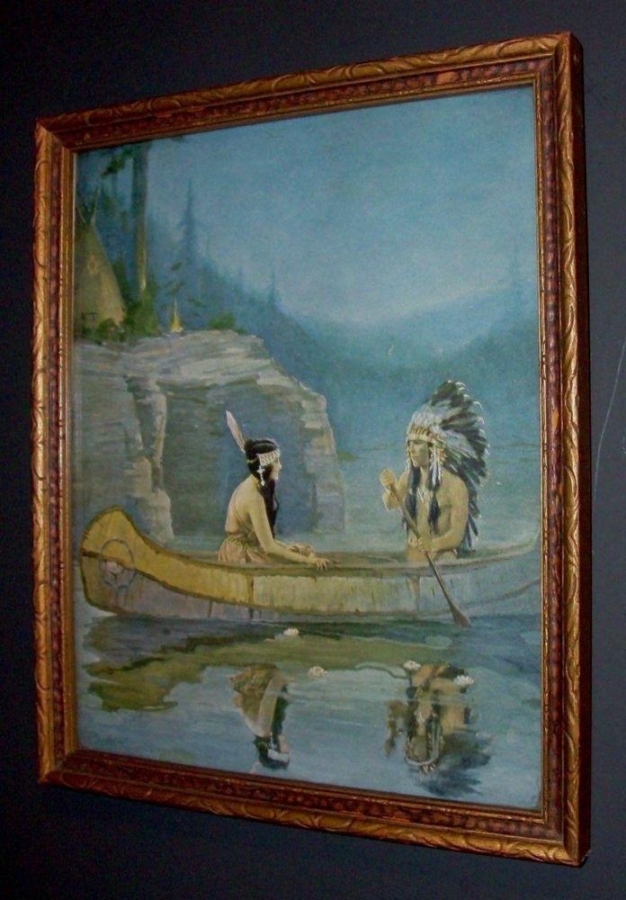 Vintage Antique Framed Printbertram Dorian Basabe Indian With Regard To Antique Framed Art Prints (View 9 of 15)
