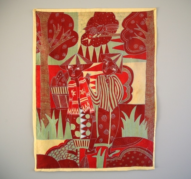 Vintage Balinese Batik Painted Fabric Wall Hanging (Image 15 of 15)