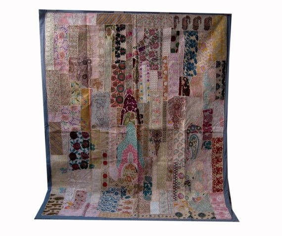 Vintage Bohemian Indian Patchwork Textile Wall Decor Wall Art With Regard To Handmade Textile Wall Art (Image 14 of 15)